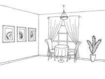 Illustrazione interna bianca nera di schizzo di arte grafica del ristorante Fotografie Stock