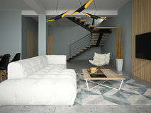 Illustrazione interna della sala 3D di progettazione moderna Immagini Stock