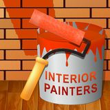 Illustrazione interna di Shows Home Painting 3d del pittore illustrazione di stock