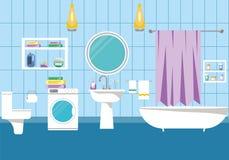 Illustrazione interna di vettore del bagno Immagini Stock