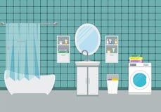 Illustrazione interna di vettore del bagno Fotografia Stock