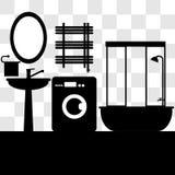Illustrazione interna di vettore del bagno attrezzatura domestica Immagini Stock