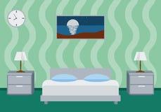 Illustrazione interna di vettore della camera da letto Immagine Stock