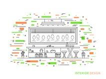 Illustrazione interna lineare del salone moderno del progettista Fotografie Stock