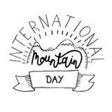 Illustrazione internazionale di vettore di giorno della montagna Adatto a cartolina d'auguri, a manifesto e ad insegna Fotografia Stock Libera da Diritti