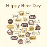 Illustrazione internazionale felice di giorno della birra, cartolina d'auguri Immagine Stock Libera da Diritti
