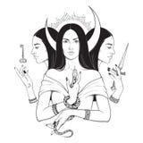 Illustrazione isolata in bianco e nero disegnata a mano lunare tripla di vettore di mitologia di greco antico di Hecate della dea illustrazione di stock