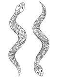 Illustrazione isolata bianco nero grafico animale del serpente Immagini Stock Libere da Diritti