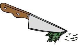 Illustrazione isolata di vettore del coltello da cucina che taglia le erbe a pezzi Immagine Stock Libera da Diritti