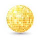 Illustrazione isolata palla della discoteca Elemento della luce del partito del night-club Progettazione dorata della palla dello Immagini Stock Libere da Diritti