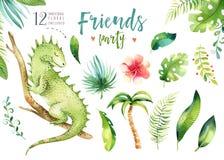 Illustrazione isolata scuola materna degli animali del bambino per i bambini Disegno tropicale di boho dell'acquerello, iguana tr Fotografia Stock