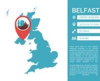 Illustrazione isolata vettore infographic della mappa di Belfast Fotografia Stock Libera da Diritti