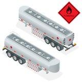 Illustrazione isometrica del camion cisterna del gas combustibile Camion con il vettore del combustibile 3d Combustibile di trasp Fotografia Stock