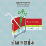 Illustrazione isometrica del cocktail di bloody mary Immagini Stock