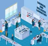 Illustrazione isometrica del laboratorio biologico chimico illustrazione di stock