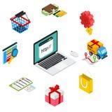 Illustrazione isometrica di acquisto online con illustrazione vettoriale