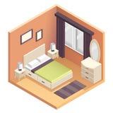 Illustrazione isometrica di interior design della camera da letto Fotografia Stock