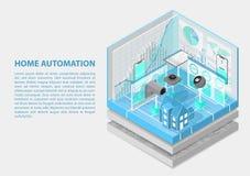Illustrazione isometrica di vettore di automazione della casa Estratto 3D infographic per gli argomenti relativi di automazione d fotografia stock