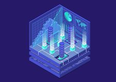 Illustrazione isometrica di vettore di Bitcoin Estratto 3D infographic per tecnologia finanziaria fotografia stock libera da diritti
