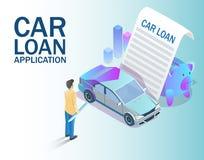 Illustrazione isometrica di vettore di concetto di applicazione di prestito dell'automobile illustrazione vettoriale