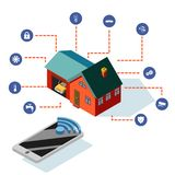 Illustrazione isometrica di vettore del dispositivo mobile di tecnologia del sistema di controllo della casa intelligente illustrazione vettoriale