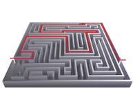 Illustrazione isometrica di vettore del modello di progettazione del fondo 3d del labirinto del labirinto di difficoltà del passa Fotografie Stock Libere da Diritti