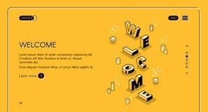 Illustrazione isometrica di vettore della pagina Web benvenuta illustrazione vettoriale