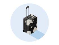 Illustrazione isometrica di vettore della valigia in bianco e nero Fotografie Stock Libere da Diritti