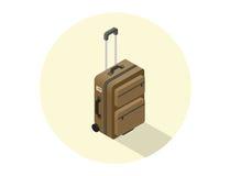 Illustrazione isometrica di vettore della valigia marrone di viaggio Fotografia Stock Libera da Diritti