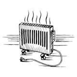 Illustrazione isometrica di vettore di schizzo del radiatore degli apparecchi del convettore Fotografia Stock