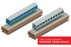 Illustrazione isometrica di vettore di un treno veloce Treno veloce I veicoli hanno progettato per portare tantissimi passeggeri Fotografia Stock Libera da Diritti