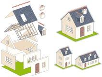 Illustrazione isometrica di vettore di una casa in kit Fotografie Stock Libere da Diritti