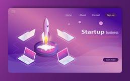 Illustrazione isometrica di vettore di infographics di web di concetto di affari di tecnologia di stile di partenza 3d royalty illustrazione gratis
