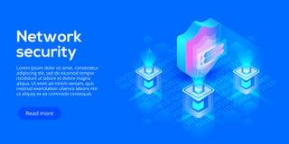 Illustrazione isometrica di vettore di protezione dei dati della rete Servizio online illustrazione vettoriale