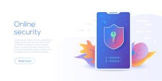 Illustrazione isometrica mobile di vettore di protezione dei dati Prote online illustrazione vettoriale