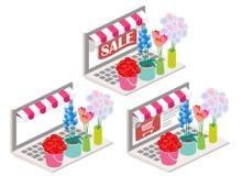 Illustrazione isometrica online di vettore 3d dei fiori Immagine Stock