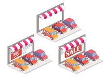 Illustrazione isometrica online di vettore 3d dell'automobile Fotografie Stock Libere da Diritti