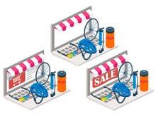 Illustrazione isometrica online di vettore 3d della bici Immagini Stock
