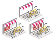 Illustrazione isometrica online di vettore 3d della bicicletta Fotografia Stock Libera da Diritti