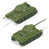 Illustrazione isometrica piana 3d del carro armato Trasporto militare Carro armato militare Carro armato militare isometrico Carr Fotografie Stock