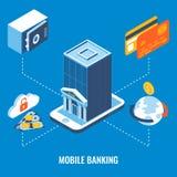 Illustrazione isometrica piana 3d di vettore mobile di attività bancarie Fotografia Stock Libera da Diritti