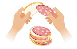Illustrazione isometrica piana delle mani che producono il panino della salsiccia illustrazione vettoriale