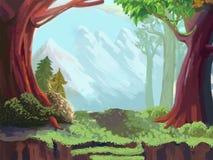 Illustrazione: La foresta e la montagna Immagini Stock