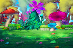 Illustrazione: La foresta variopinta con i fiori enormi Fotografia Stock