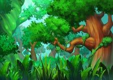 Illustrazione: La foresta verde primigenia Immagini Stock Libere da Diritti