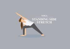 Illustrazione laterale diritta di vettore di posa di allungamento di Asana di yoga Fotografie Stock