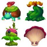 Illustrazione: Le creature fantastiche nella foresta fantastica Immagine Stock
