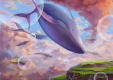 Illustrazione: Le grande di volo mentre balena Fotografia Stock