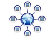Illustrazione in linea globale della rete di calcolatore Fotografia Stock