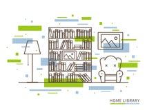 Illustrazione lineare dello spazio moderno dell'interno della biblioteca domestica del progettista Immagine Stock Libera da Diritti